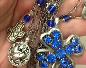 Fun Fun Fun Blue Cyrstal Four Leaf Clover Vintage Pin Turned Necklace