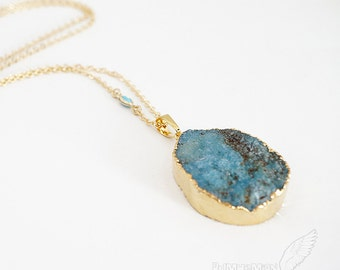 NATURAL Large Agate Organic Crystallized Druzy Pendant, Rough Blue, Frosted Gray White, Soft Fucsia, Boho Chic Gift for Her Necklac