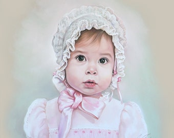 Pastel portrait of a little baby girl, with old fashion french bonnet