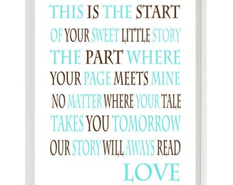 This Is The Start Quote Nursery Art - Typography Word Art - Neutral Baby Toddler Room - Aqua Blue Tan Wall Art Print