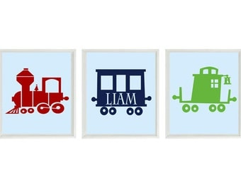 Train Art Print - Boy Nursery Art - Personalize Name -  Decor - Choo Choo Railroad Transportation Wall Art Home Decor