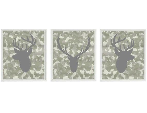 Deer Wall Art Print Silhouette Gray Camo Decor Buck Antlers