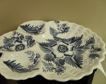 Large Italian Blue & White 4 tiered Large serving dish