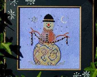 """SALE! Christmas Cross Stitch Instant Download Pattern """"Wintery Charm"""" Chart. Snowman Design. Counted Embroidery. X Stitch. DIY Home Decor."""