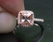 14k Rose Gold 7mm Morganite Cushion and Diamonds Single Halo Ring (Choose color and size options at checkout)