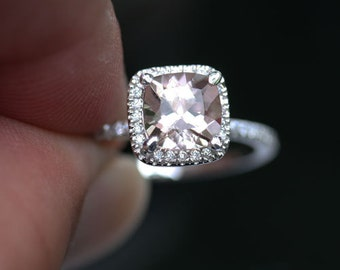 Cushion 6mm Morganite Ring in 14k White Gold Morganite 6mm and Diamond Engagement Ring