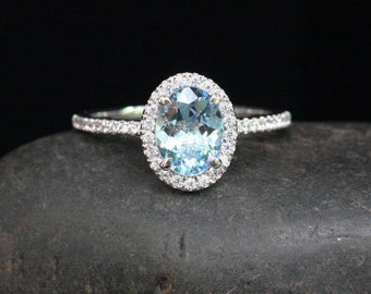 Diamond and Aquamarine Engagement Ring in 14k White Gold with Aquamarine Oval 8x6mm and Diamond Halo Ring