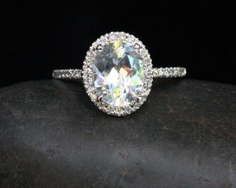 White Topaz Engagement Ring Diamond Halo 14k White Gold with White Topaz Oval 10x8mm and Diamonds