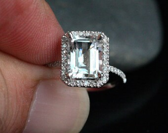 White Topaz Engagement Ring Diamond Halo 14k White Gold with White Topaz Emerald Cut 9x7mm and Diamonds