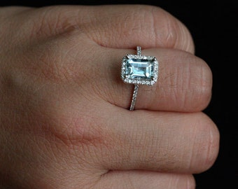 Aquamarine Engagement Ring in 14k White Gold with Aquamarine Emerald Cut 8x6mm and Diamond Halo Bridal Ring