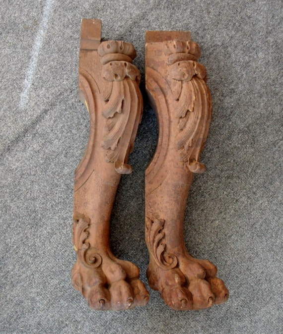 2 Antique Ornate Carved Wood Furniture Legs With Lion Feet