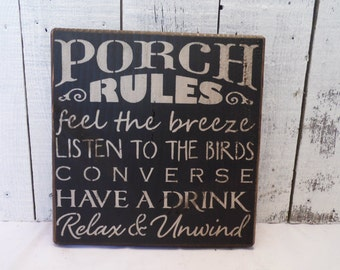 wooden sign, Porch Rules, subway art, wall decor, wall art