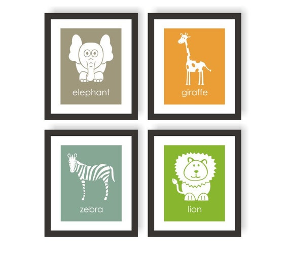 Safari Animal Art Gender Neutral Nursery Choose By