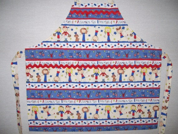 Red White Blue Kitchen Fabric With Words
