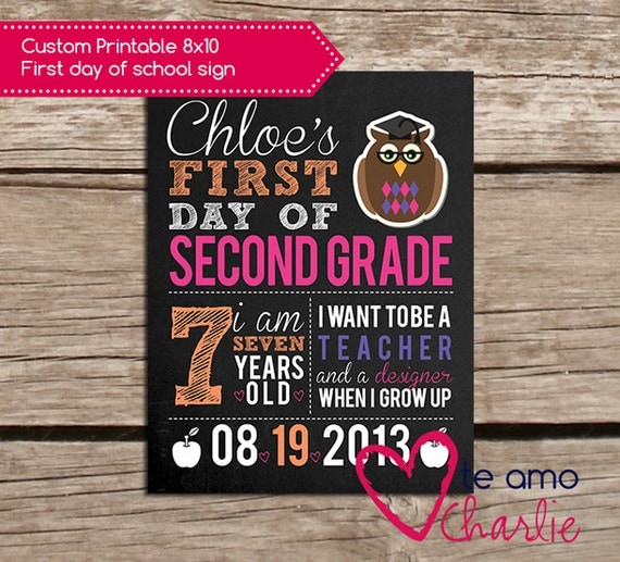 First Day of School Sign - Printable 8x10 First Day of School Photo ...