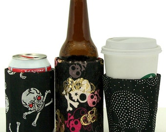 Beverage Insulators 2qty. #SKULL #ROCK Fabric PocketHuggies-Reusable,Cold/Hot,Soda, #Coffee #Beer, #SoloCup-3 SIZES-Cup,Can,GlassBeerBottle