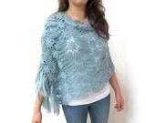 crochet  pale blue shawl