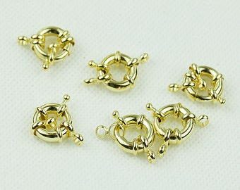 Gold Spring Clasps, 13mm Clasp Wheel, Gold Plated over Brass, Pkg of 5 pcs, F0IP.GO01.P05