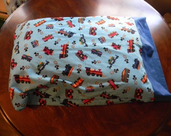 Pillow Case Trains on a blue background