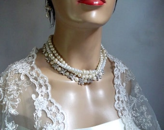 Wedding Pearl Necklace, Glass Pearls,Rhinestone Bridal Necklace, Ivory, Handmade, Wedding Jewelry, Bridal Jewelry