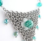 Triangle sheet chain maille necklace with green lampwork bead, emerald green bead necklace, chainmaille necklace with lampwork glass bead