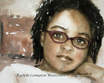 for her custom portrait painting of child CUSTOM painting custom child portrait watercolor painting original watercolor commission mom 8x10
