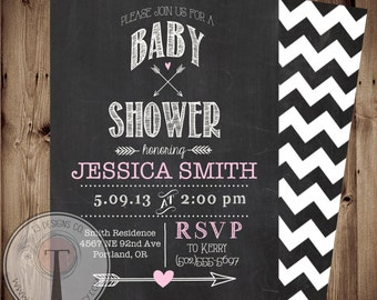 items similar to chalkboard baby shower invitation on etsy, Baby shower invitations