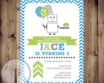 ROBOT BIRTHDAY INVITATION, Boy birthday invitation, boy birthday invite, robot birthday, robot, boy, robot birthday party