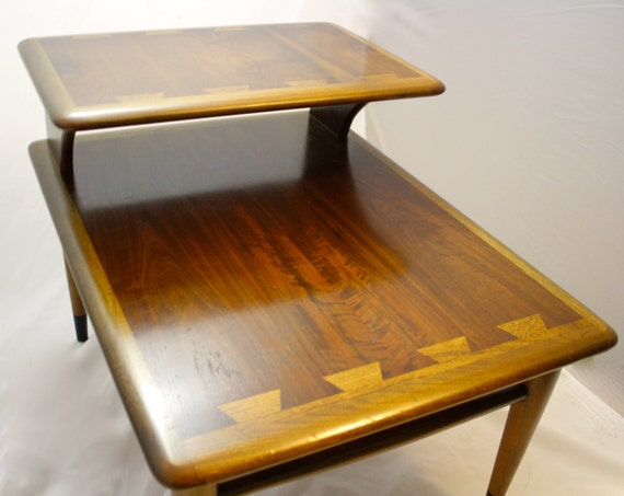 mid century modern lane acclaim two tier end table vintage. Black Bedroom Furniture Sets. Home Design Ideas