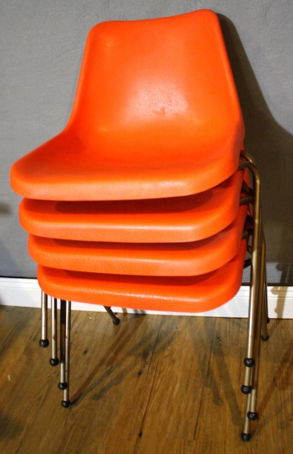 Orange Plastic Chair vintage orange shamrock neatway molded plastic orange chairs