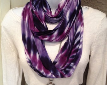 Tye dye scarf, Hand dyed rayon/jersey knit infinity scarf,  hand dyed infinity scarves, seamless scarf, navy, lavender and purple scarf