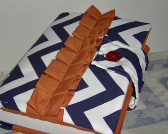 Beautiful Chevron on Navy Blue and Orange  Bible Cover with Ruffles