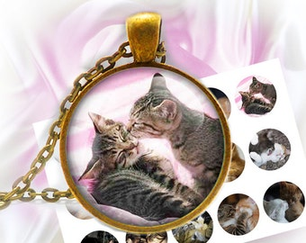 DISCOUNT till 30% Cats kissing - 1 inch rounds graphics for scrapbooking, Digital Printable 15 Bottle Cap Images File 4x6, BUY 2 get 1 FREE