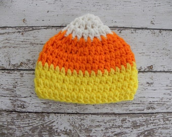Crochet candy corn hat. Halloween candy corn hat. Newborn baby photo prop candy corn hat.