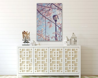 Walk With Me  - Canvas Gallery Wrap - Cherry Blossom, Spring, Nursery, Girl, Baby, Romantic, Blue, Sky, pink, shabby, cottage, decor, art
