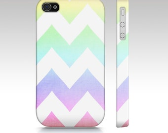 Watercolor Chevrons - Rainbow Chevron - Iphone, Samsung Galaxy S3 & S4 Case - Zig Zag, tech, apple, iPhone 5, iPhone 4s, pastel, pink, gree
