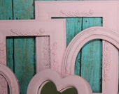Vintage lot of 7 PINK Picture Frames and Mirrors GLASS & BACKING Wedding Shabby Chic Beach French Country