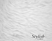 White Pile Luxury Shag Faux Fur Fabric by the yard for costume, throws, home furnishing, photo props - 1 Yard Style 5009