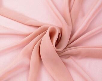 Dusty Pink Solid Hi-Multi Chiffon Fabric by the Yard, Chiffon Fabric, Wedding Chiffon, Lightweight Chiffon Fabric - Style 500