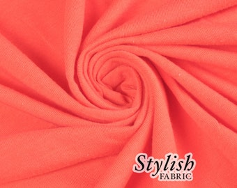 Corallish Cotton Lycra Jersey Knit Fabric Combed 7oz by the Yard Cotton Stretch Jersey Cotton Jersey Stretch by the yard - 1 Yard Style 477