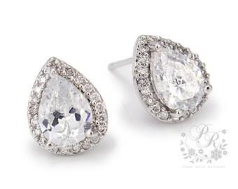 Wedding Earrings Teardrop Zirconia Earrings Wedding Jewelry Bridal Earrings Bridesmaid Earrings Wedding Accessory Bridal Jewelry Pazu Pam