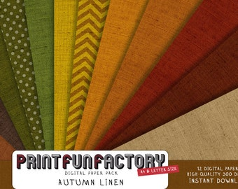 Autumn digital paper - Fall colors linen scrapbook backgrounds - 12 digital papers (#061) INSTANT DOWNLOAD