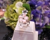 Blest Jewellery - Flower Shape Pink, White And Black Color Mother Of Pearl Ring With 925 Silver, Free Size