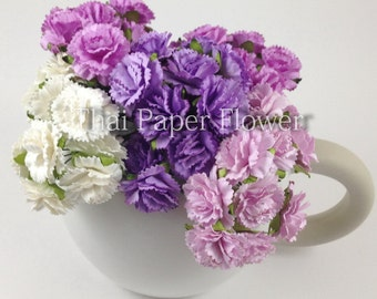25 Purple White Mixed Carnations Wedding Paper flower scrapbook card making home decor craft supply  601/CA1