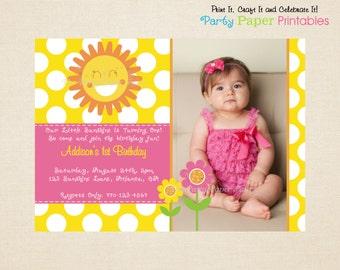 Sunshine Birthday Invitation, Sunshine Photo Invitation, Yellow & Pink - PRINTABLE, DIY by Party Paper Printables