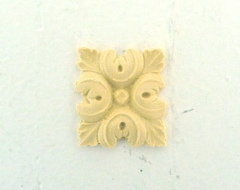 Square Rosette Furniture Applique - Wood & Resin - Trims and Appliques - Flexible - Stainable - Paintable