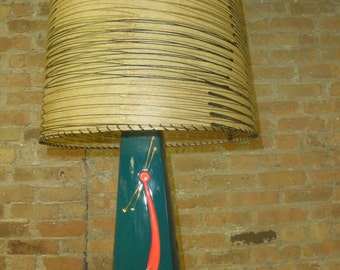 Green Ceramic Lamp with Red and Gold Accents