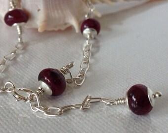 Sterling Silver Ruby Bracelet