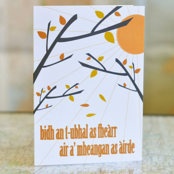 """Cairt Ghàidhlig // Scottish Gaelic Greeting Card.  literal translation: """"the best apple will be on the highest branch"""""""