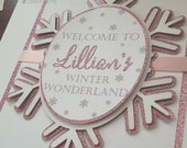 Winter Wonderland Welcome Sign, 8x10 Sign Snowflake Sign